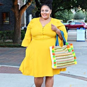 ELOQUII Yellow Flare Sleeve Fit and Flare Dress